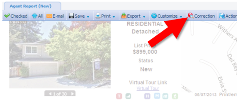 Correction Button found at top of detail report on MLS listing
