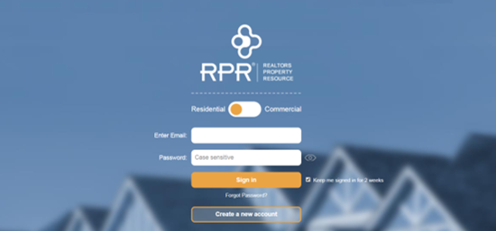 Rpr Login screen image
