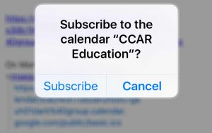 iOS challenge displayed for calendar subcription