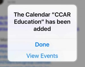 iOS subscription confirmation for calendar displayed