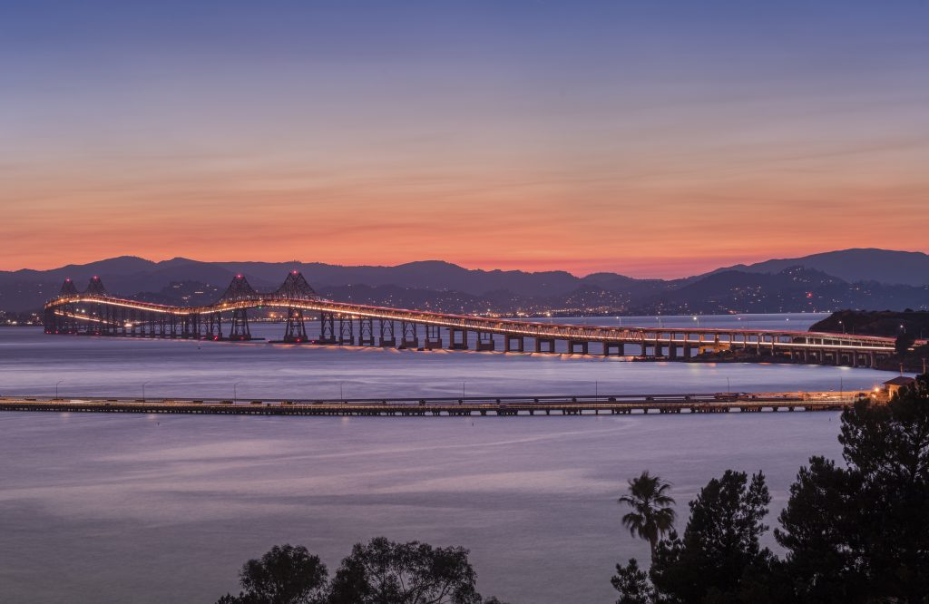 Richmond-San Rafael Bridge in California at dusk.